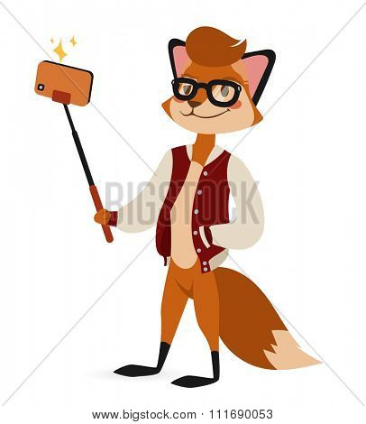 Selfie photo fox boy hipster with glasses vector portrait illustration on white background. Cartoon fox hipster, fox vector. Selfie shot fox teenager boy. Vector fox animal isolated. Fox boy hipster
