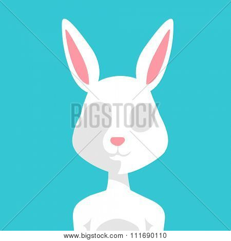 Greeting card Easter rabbit vector illustration. Funny bunny easter rabbit. Easter Bunny greeting card. Easter vector illustration. Easter bunny cartoon flat style. Easter flat rabbit bunny vector