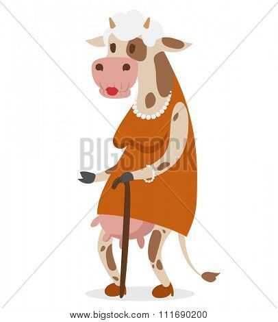 Cow old woman vector portrait illustration on background. Cartoon cow old woman, animal cow vector. Selfie shot cow woman human body. Vector cow animal isolated. Cow vector old woman. Cow vector