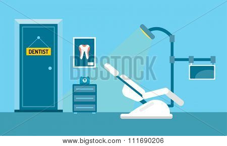 Dentist office illustration. Dentist doctor office vector. Dental care, tooth care tools, doctor office, tooth oral brush toothpaste. Dental clinic illustration vector. Dental care office background