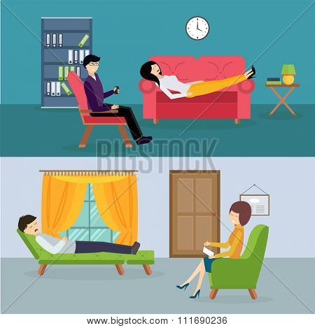 Psychologist office cabinet room vector illustration. Psychologist having psychological therapy session. Psychologist office illustration. Psychological therapy session illustration. Psychological