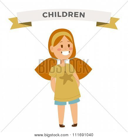 Cute little girl cute dress. Girl playing on white background. Girl smiling face. Vector girl illustration. Young girl concept. Childhood, kids, young people. Teenagers children kids cartoon style