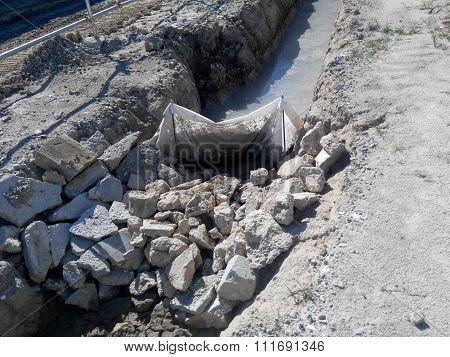 Check dam or silt trap at the construction site