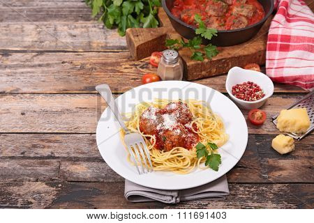 spaghetti, meatball and parmesan