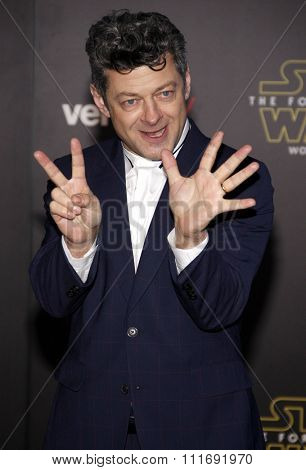 Andy Serkis at the World premiere of 'Star Wars: The Force Awakens' held at the TCL Chinese Theatre in Hollywood, USA on December 14, 2015.