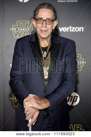 Peter Mayhew at the World premiere of 'Star Wars: The Force Awakens' held at the TCL Chinese Theatre in Hollywood, USA on December 14, 2015.