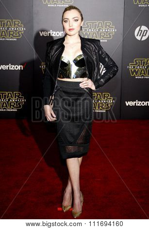 Peyton List at the World premiere of 'Star Wars: The Force Awakens' held at the TCL Chinese Theatre in Hollywood, USA on December 14, 2015.