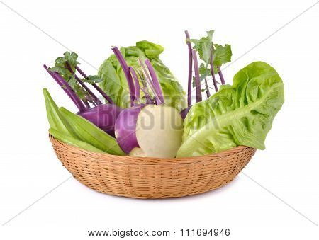 Mixed Vegetables, Kohlrabi, Okra, Baby Cos In Basket On White Background
