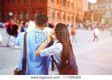 Couple on stree in city