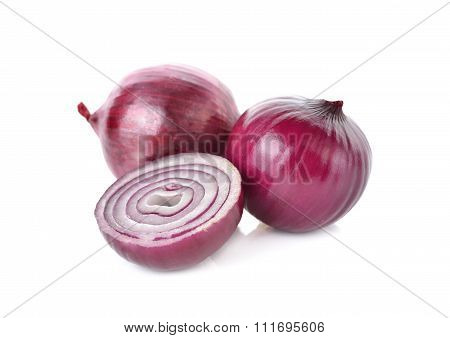 Whole And Half Cut Red Onion, Shallots On White Background