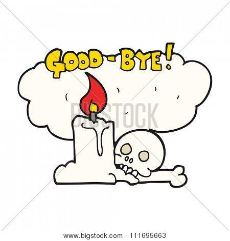 freehand drawn cartoon goodbye sign