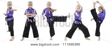 Collage of little girl in kimono doing exercises isolated on white