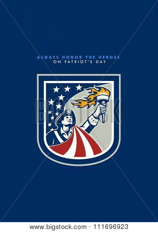 Patriots Day Greeting Card American Patriot Holding Up Torch Flag