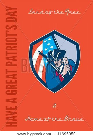 Patriots Day Greeting Card American Patriot Brandishing Flag