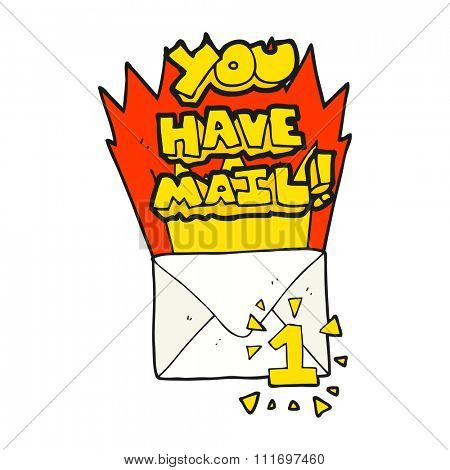 freehand drawn cartoon you have mail symbol