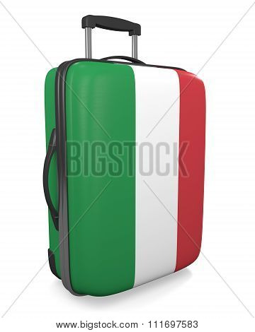 Italy vacation destination concept of a flag painted travel suitcase