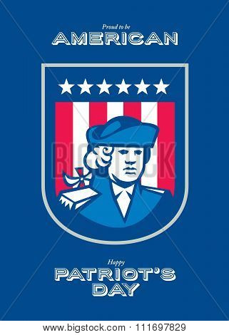 Patriots Day Greeting Card American Patriot Bust Shield