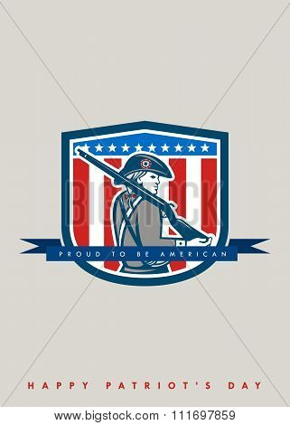 Patriots Day Greeting Card American Patriot Minuteman Musket Rifle