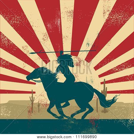 Vector Retro Vintage American Indian Warrior riding on horse back
