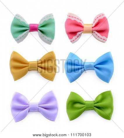 Collection set of colorful ribbon bows isolation on a white background