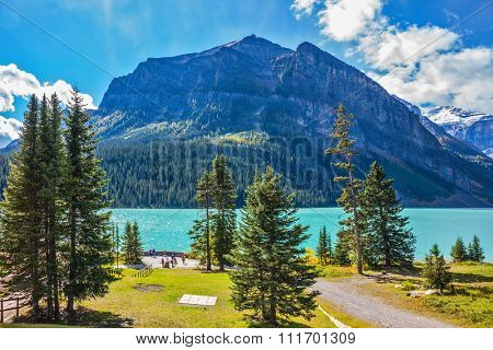 Rocky Mountains, Canada, Banff National Park. Magnificent Lake Louise in the mountains. A great sunny day