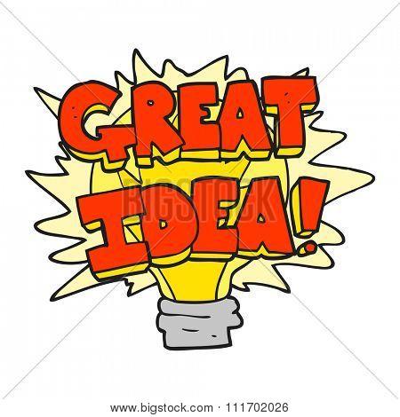 freehand drawn cartoon great idea light bulb symbol