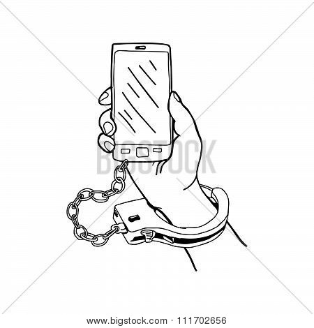Illustration Vector Hand Drawn Doodle Hand Holding Mobile Phone With Handcuffs