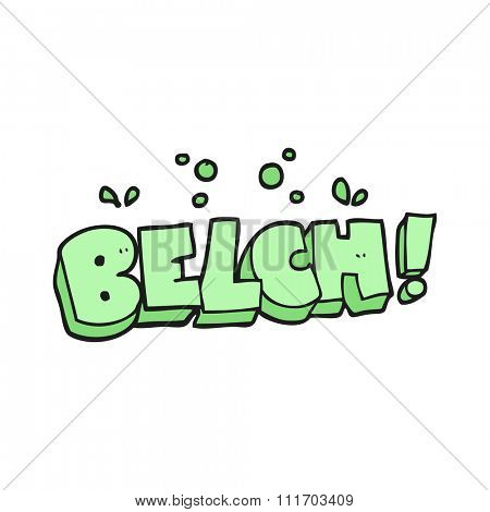 freehand drawn cartoon belch text