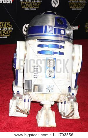 LOS ANGELES - DEC 14:  R2-D2 at the Star Wars: The Force Awakens World Premiere at the Hollywood & Highland on December 14, 2015 in Los Angeles, CA