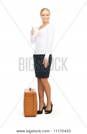 Woman With Brown Suitcase