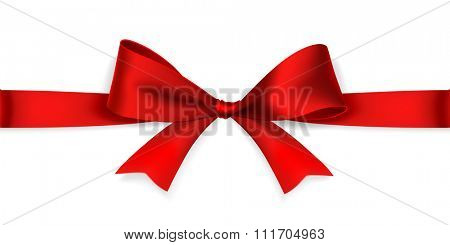 Red satin bow isolated on white background. Vector
