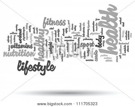 Vector concept or conceptual abstract word cloud on black background, metaphor to health, nutrition, diet, wellness, body, energy, medical, fitness, medical, gym, medicine, sport, heart science