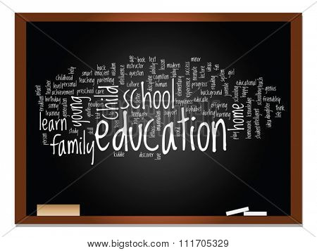 Vector concept or conceptual education abstract word cloud, blackboard background, metaphor to child, family, school, learn, knowledge, home, study, teach, educational, achievement, childhood or teen