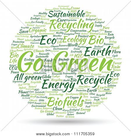 Vector concept or conceptual abstract green ecology, conservation word cloud text, white background, metaphor to environment, recycle, earth, alternative, protection, energy, eco friendly or bio