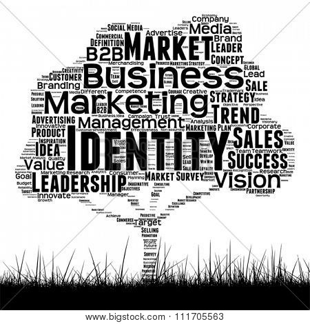 Vector concept conceptual black media tree and grass word cloud on white background as metaphor for business, trend, media, focus, market, value, product, advertising or customer corporate wordcloud