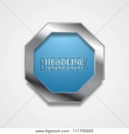 Blue octagon design with metal frame. Vector design