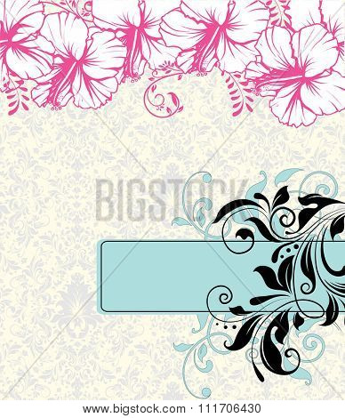 Vintage invitation card with ornate elegant retro abstract floral design, pink light blue and black flowers and leaves on white background with rectangular text label. Vector illustration.