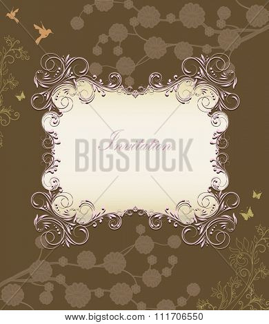Vintage invitation card with ornate elegant retro abstract floral design, pink brownish green and grayish light brown flowers and leaves on chocolate brown background. Vector illustration.