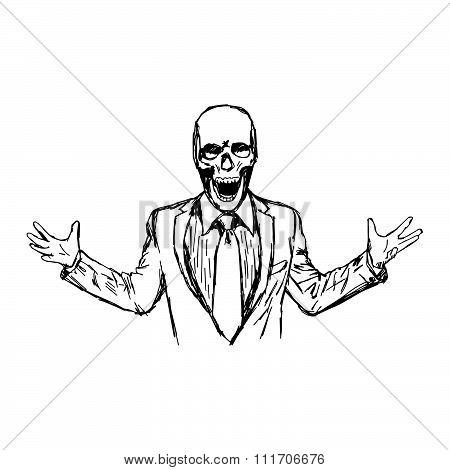 Illustration Vector Hand Drawn Doodle Angry Skeleton Businessman Shouting.
