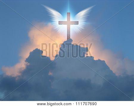 Angelic wings open before cross