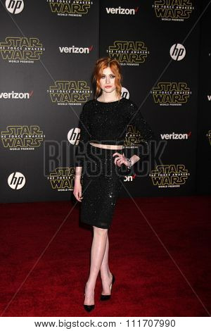 LOS ANGELES - DEC 14:  Katherine McNamara at the Star Wars: The Force Awakens World Premiere at the Hollywood & Highland on December 14, 2015 in Los Angeles, CA
