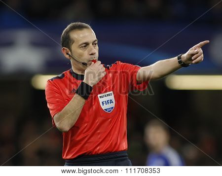 LONDON, ENGLAND - DECEMBER 09 2015: Referee during the Champions League Group G match between Chelsea FC and FC Porto at Stamford Bridge on December 9, 2015 in London, United Kingdom