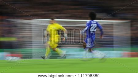 LONDON, ENGLAND - DECEMBER 09 2015: Slow shutter with motion blur during the Champions League Group G match between Chelsea FC and FC Porto at Stamford Bridge on December 9, 2015 in London
