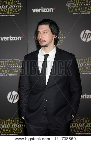 LOS ANGELES - DEC 14:  Adam Driver at the Star Wars: The Force Awakens World Premiere at the Hollywood & Highland on December 14, 2015 in Los Angeles, CA