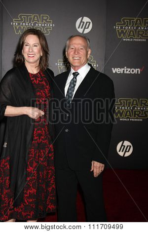 LOS ANGELES - DEC 14:  Kathleen Kennedy, Frank Marshall at the Star Wars: The Force Awakens World Premiere at the Hollywood & Highland on December 14, 2015 in Los Angeles, CA