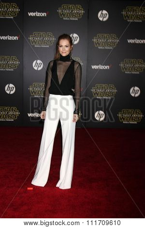 LOS ANGELES - DEC 14:  Darby Stanchfield at the Star Wars: The Force Awakens World Premiere at the Hollywood & Highland on December 14, 2015 in Los Angeles, CA