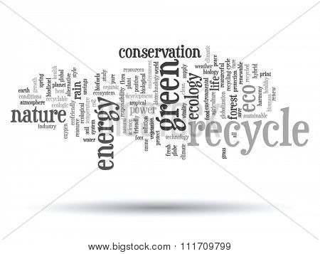Concept or conceptual abstract green ecology, conservation word cloud text, white background, metaphor to environment, recycle, earth, alternative, protection, energy, eco friendly or bio