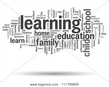 Concept or conceptual education abstract word cloud, white background, metaphor to child, family, school, learn, knowledge, home, study, teach, educational, achievement, childhood or teen