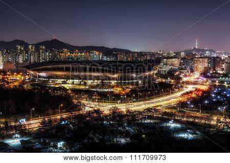 World Cup Stadium In Seoul Taken At Night