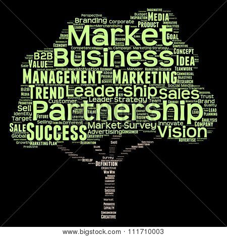 Concept green tree leadership marketing or business word cloud isolated on black background for business, trend, media, focus, market, value, product, advertising, leadership customer corporate